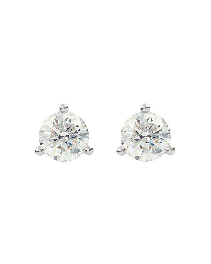 Lightbox Jewelry Solitaire Lab-grown Diamond Stud Earrings In White