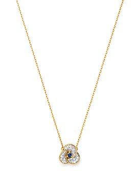 "Adina Reyter - 14K Yellow Gold Diamond & Sapphire Petals Necklace, 16"""