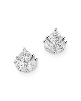 Bloomingdale's - Princess-Cut & Marquise Diamond Stud Earrings in 14K White Gold, 1.0 ct. t.w. - 100% Exclusive