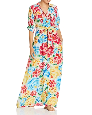 All Things Mochi Marie Graphic Floral Silk Maxi Dress