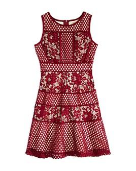 US Angels -  Girls' Mesh & Lace Paneled Dress, Big Kid - 100% Exclusive