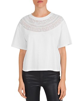 The Kooples - Lace-Inset Cotton Jersey Tee