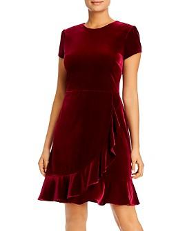 KARL LAGERFELD Paris - Velour Ruffle-Hem Dress