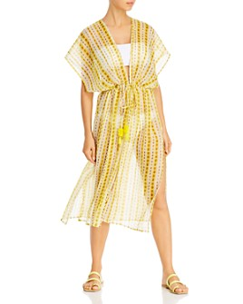 Echo - Shibori Midi Open Caftan Swim Cover-Up
