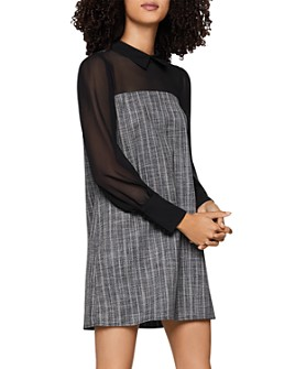 BCBGENERATION - Tweed & Georgette Shift Dress