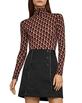 BCBGMAXAZRIA - Geometric Print Turtleneck Top