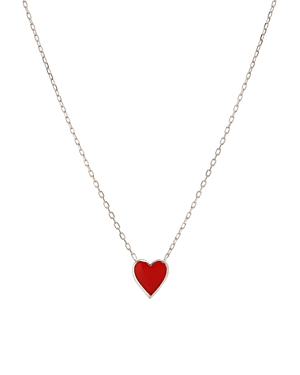 Aqua ENAMEL HEART PENDANT NECKLACE IN STERLING SILVER OR GOLD-PLATED STERLING SILVER, 16-18 - 100% EXCLUS