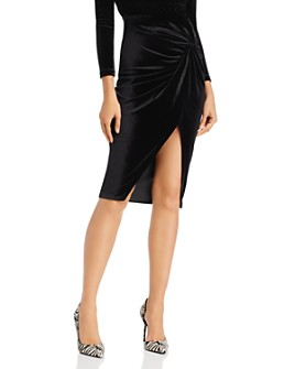 AQUA - Twist-Front Velvet Skirt - 100% Exclusive