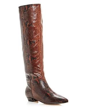 Sigerson Morrison Women's Gareth Snake-Embossed Pointed-Toe Boots