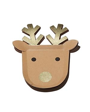 Meri Meri Reindeer Party Plates, Pack of 8