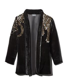 The Kooples - Embellished Velvet Leopard-Motif Kimono Jacket