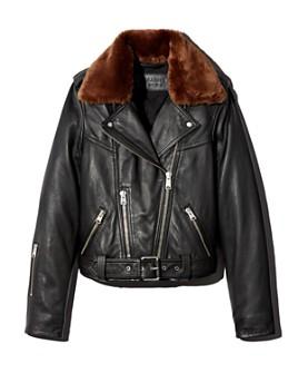 ALLSAINTS - Rigby Lux Faux-Fur Trim Leather Biker Jacket