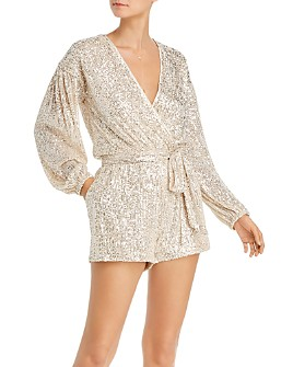 AQUA - Sequined Crossover Romper - 100% Exclusive