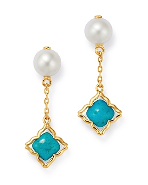 Bloomingdale's Freshwater Pearl & Turquoise Clover Drop Earrings in 14K Yellow Gold - 100% Exclusive
