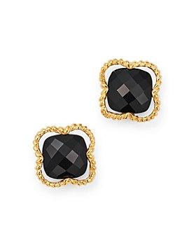 Bloomingdale's - Black Onyx Clover Stud Earrings in 14K Yellow Gold - 100% Exclusive