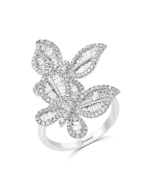 Diamond Butterfly Statement Ring in 14K White Gold