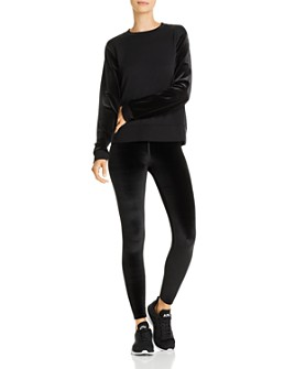 Beyond Yoga - Velvet-Sleeve Sweatshirt & Midi Leggings
