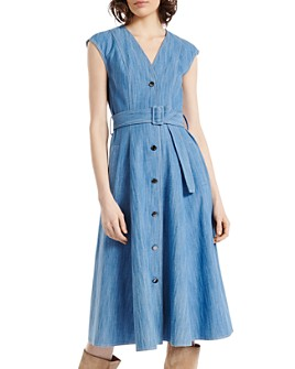 PAULE KA - Button-Front Chambray Midi Dress