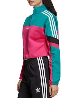adidas Originals - Color-Block Half-Zip Cropped Sweatshirt