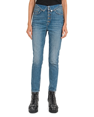 The Kooples Mid-Rise Straight-Leg Button-Fly Jeans in Blue Vintage