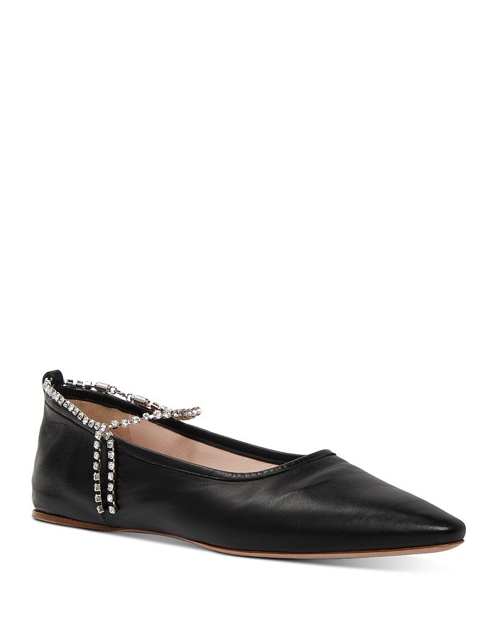 Miu Miu - Women's Crystal Ankle Strap Pointed Toe Flats