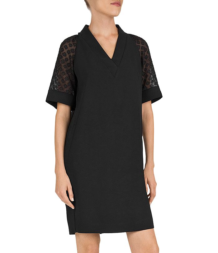 Gerard Darel Dune Devore-sleeve Dress In Black