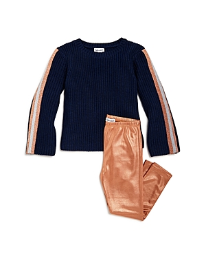 Splendid Girls' Ribbed Sweater & Glitter Leggings Set - Little Kid