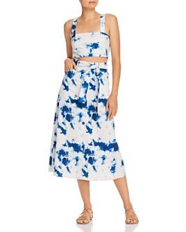 Gary Bigeni - Tie-Dyed Cotton Twill Crop Top & Midi Skirt