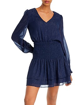 AQUA - Metallic Smocked Mini Dress - 100% Exclusive