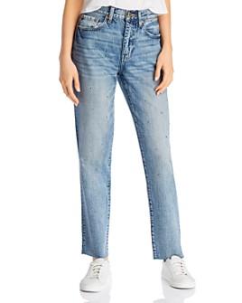 Pistola - Presley High-Rise Studded Straight-Leg Jeans in Rocksteady Blue