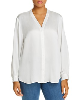 Eileen Fisher Plus - Silk Button-Front Blouse