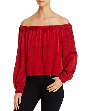 Red Haute Ruffled Off-the-Shoulder Top