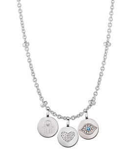 """CHARMBAR - Adjustable Bead Station Necklace in Sterling Silver or 14K Gold-Plated Sterling Silver, 16""""-18"""""""