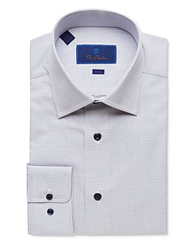 David Donahue - Micro Diamond Trim Fit Dress Shirt