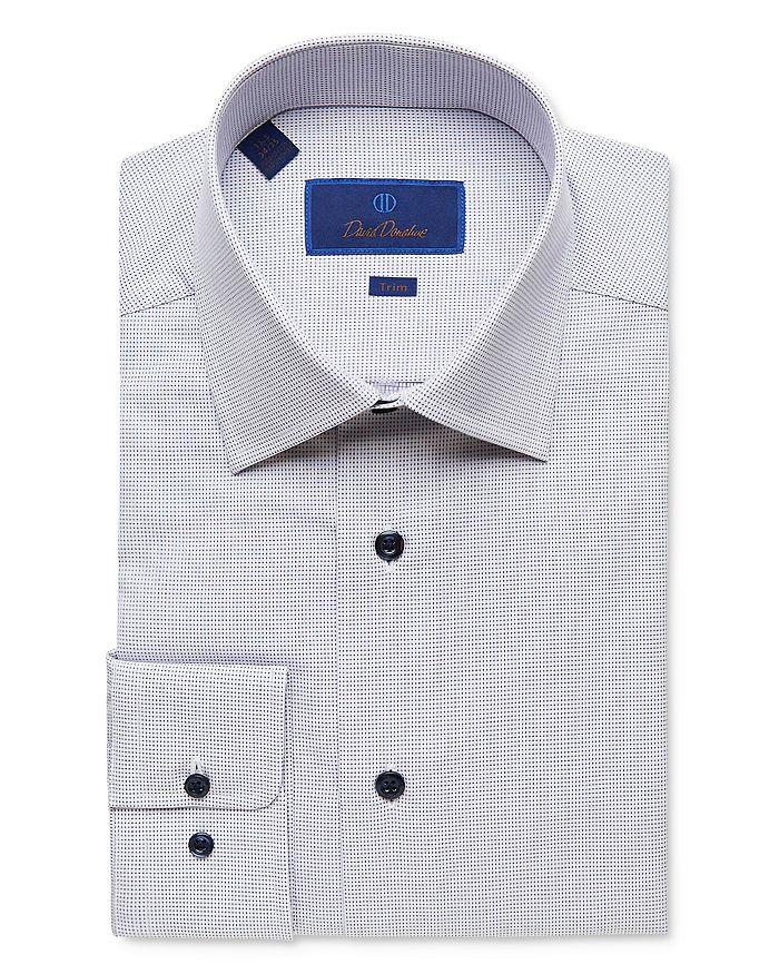 David Donahue - Micro Diamond Trim Fit Dress Shirt