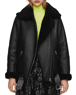 Maje - Gombery Leather & Real Sheep Shearling Coat