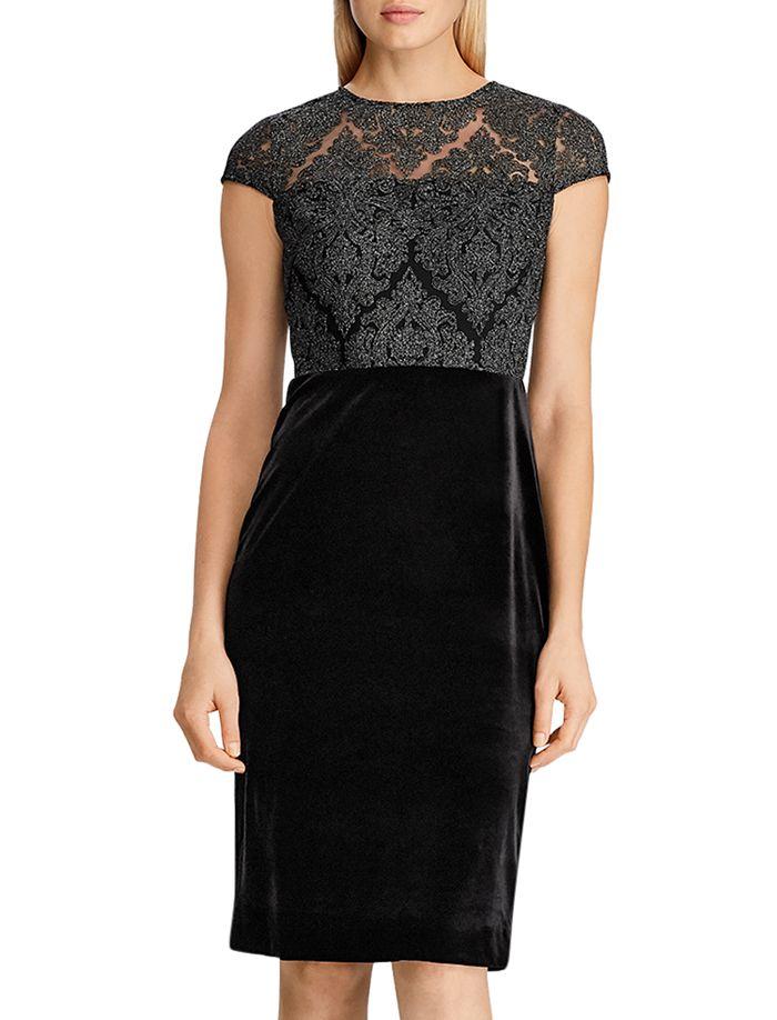 Ralph Lauren - Lace-Bodice Velvet Dress