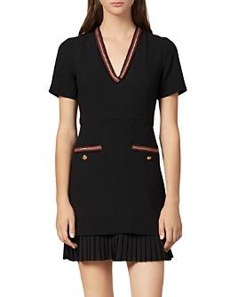 Sandro - Orna Pleated-Hem V-Neck Dress