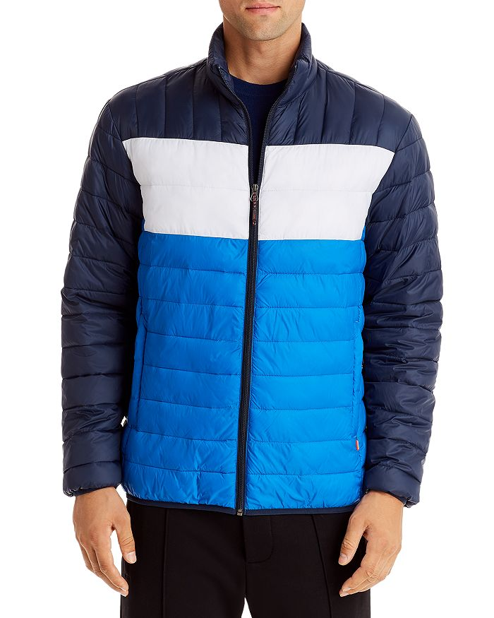 Hawke & Co. Color-block Packable Puffer Jacket In Navy/blue/white