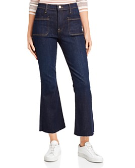 FRAME - Le Bardot Crop Flare Raw-Edge Jeans in Sutherland