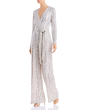 Eliza J Suits SEQUINED FAUX-WRAP JUMPSUIT