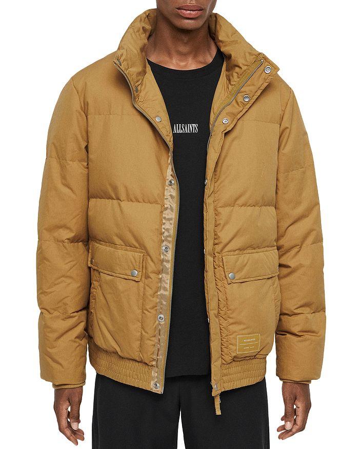 Allsaints Hadley Puffer Jacket In Mustard Yellow