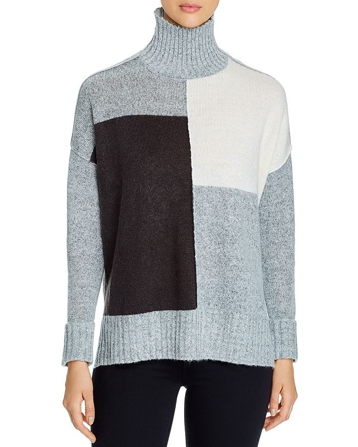Alison Andrews Color-blocked Turtleneck Sweater In Gray Heather/peacoat
