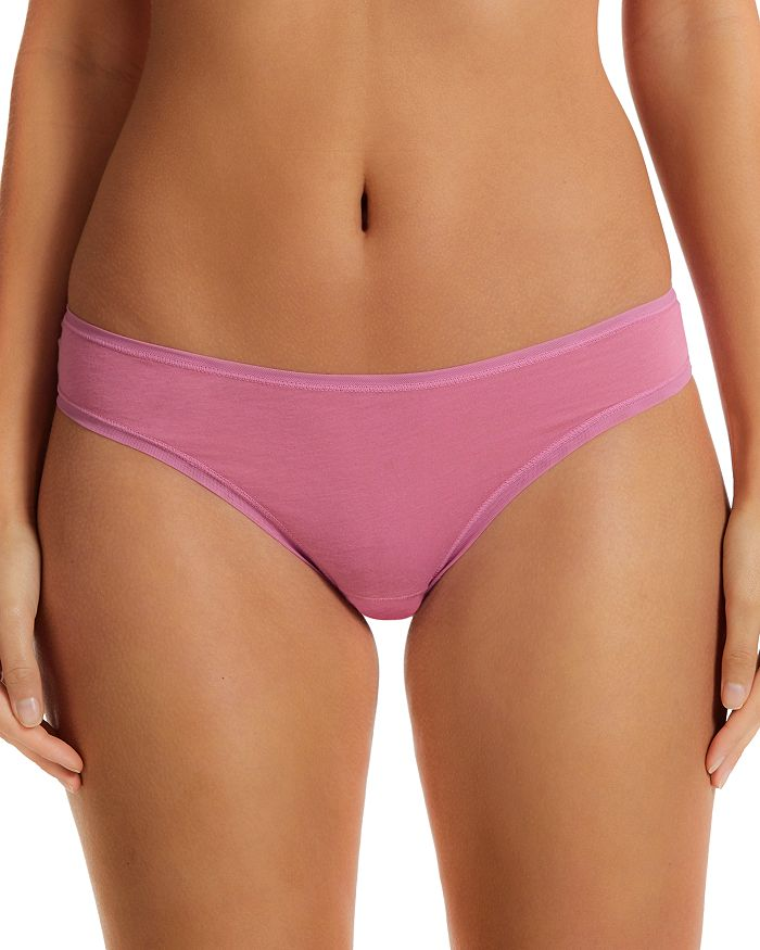 Fine Lines Pure Cotton Thong In Rose