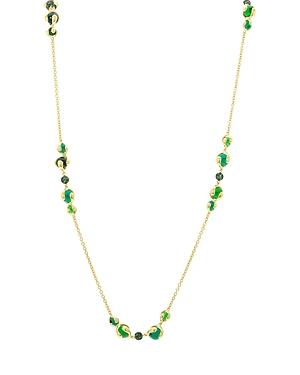 18K Yellow Gold Cardan Tsavorite Pave & Green Russian Quartz Station Necklace