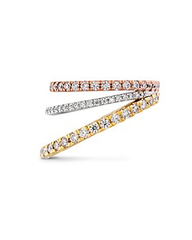 Hayley Paige for Hearts on Fire - Platinum, 18K Rose & Yellow Gold Diamond Bring The Drama Power Band with Pink Sapphire