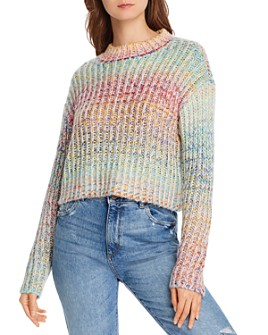 AQUA - Rainbow Marled Cropped Sweater - 100% Exclusive