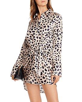AQUA - Tie-Front Cheetah Print Dress - 100% Exclusive