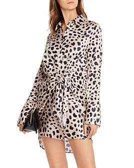 AQUA - Tie-Front Cheetah Print Dress - 100% Exclusive