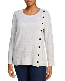NIC and ZOE Plus - Mélange-Knit Snap Sweater